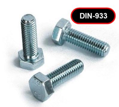 Bout zeskant volledig draad elek/zink  8.8 DIN 933