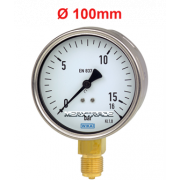 Pressure gauge St.St.1.4301 / Brass Ø 100mm - 1/2''